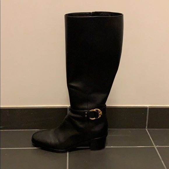 8e6fd468288 Tory Burch Marsden Black leather riding boot